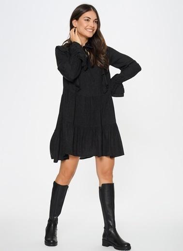 Loves You Fırfır Detaylı A Shape Katlı Flanel Elbise Antrasit